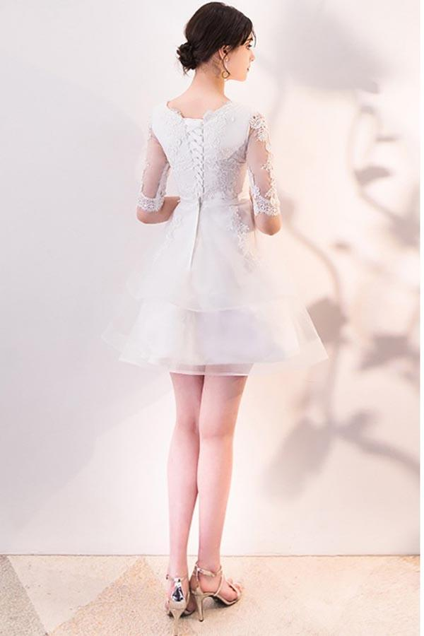 Short White Lace Ruffled Party Dress Homecoming Dresses With Half Sleeves-Pgmdress