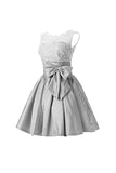 Silver Taffeta Short Homecoming Dresses Prom Dresses PG056