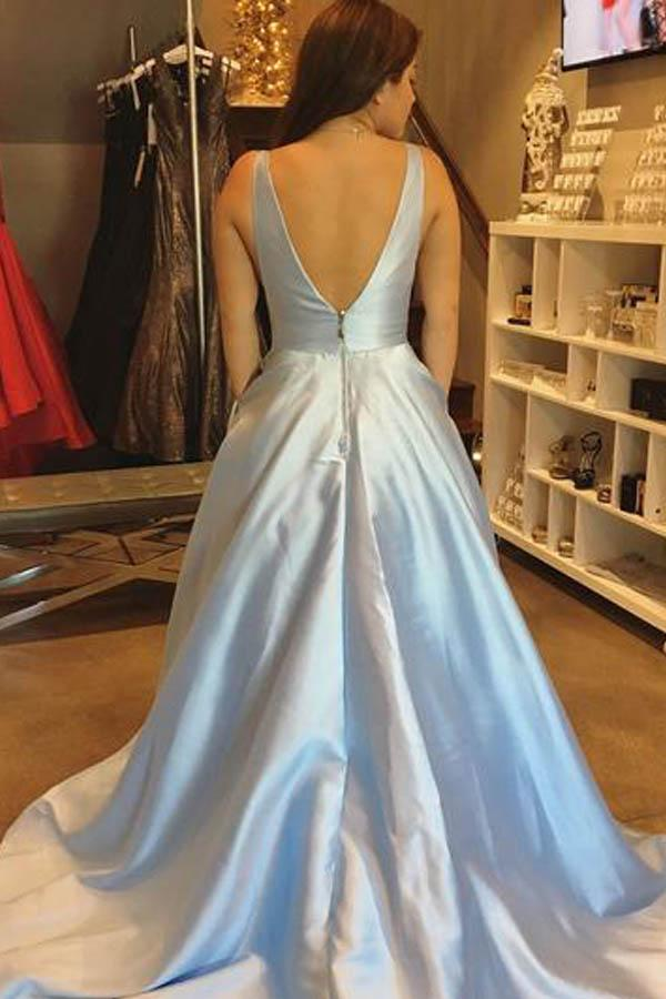 simple A-line V-neck Satin  Cheap Prom Dresses with Pocket-Pgmdress