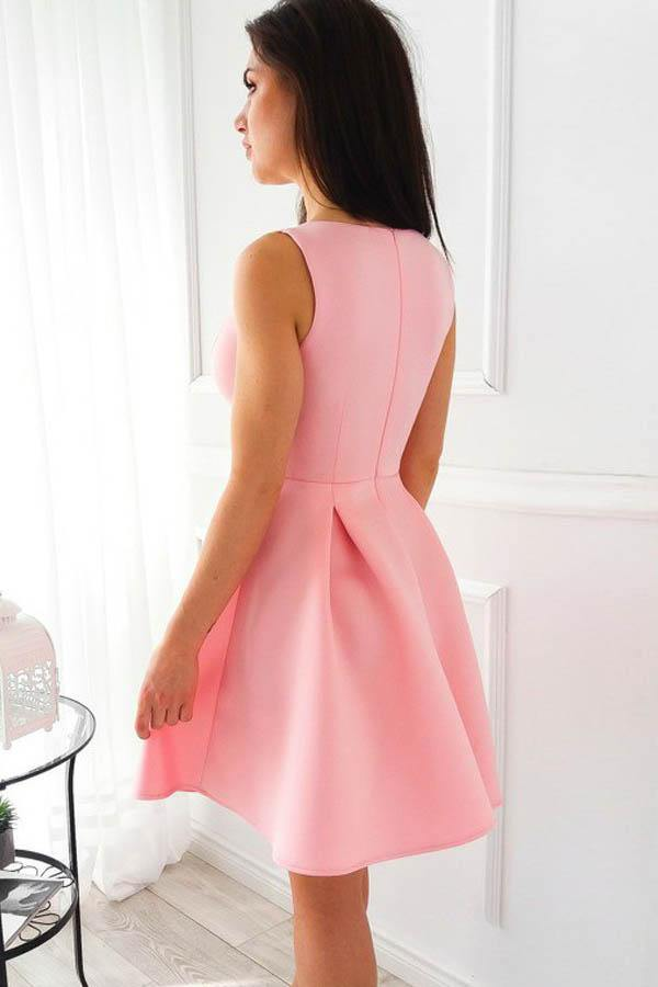 Simple A-Line V-Neck Short Pleated Pink Satin Homecoming Dress-Pgmdress