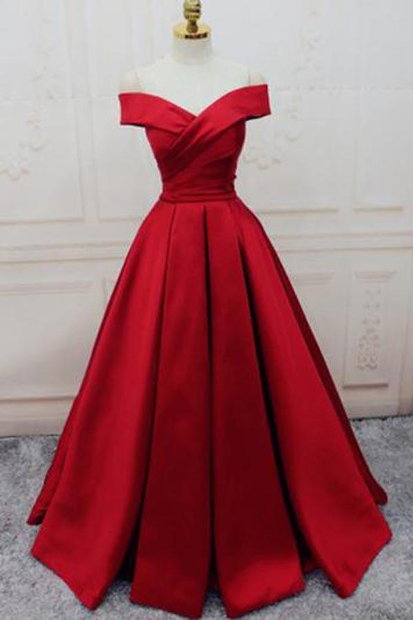 Simple Red Off Shoulder A line Long Cheap Evening Prom Dresses-Pgmdress