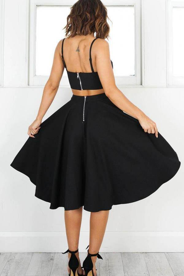 Simple Two Pieces Black Short Prom Dresses Homecoming Dresses-Pgmdress