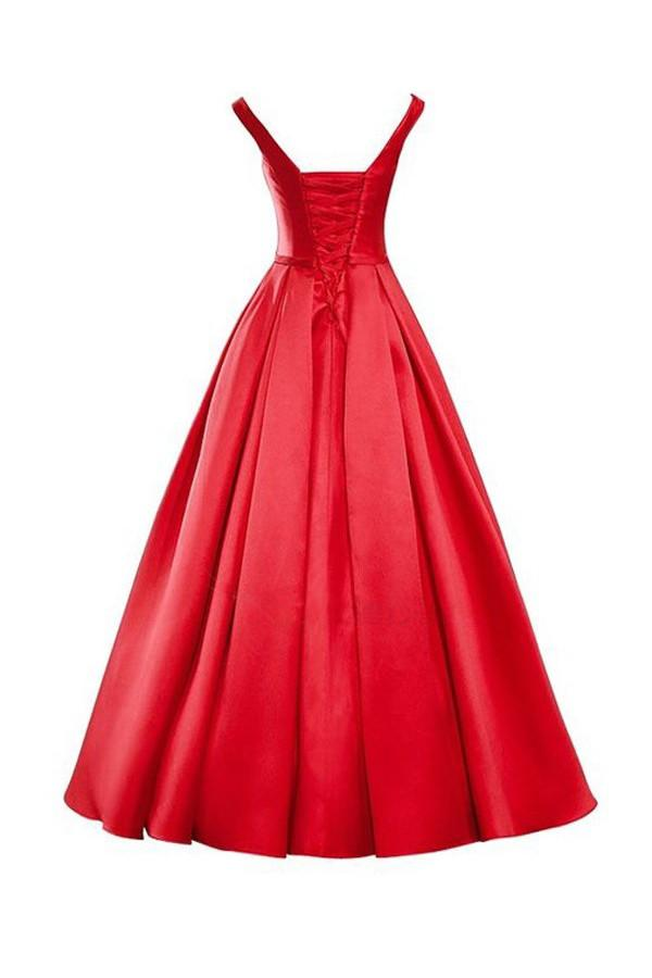 Simple V-Neck Bowknot Lace-Up Red Prom Dress Bridesmaid Dress-Pgmdress