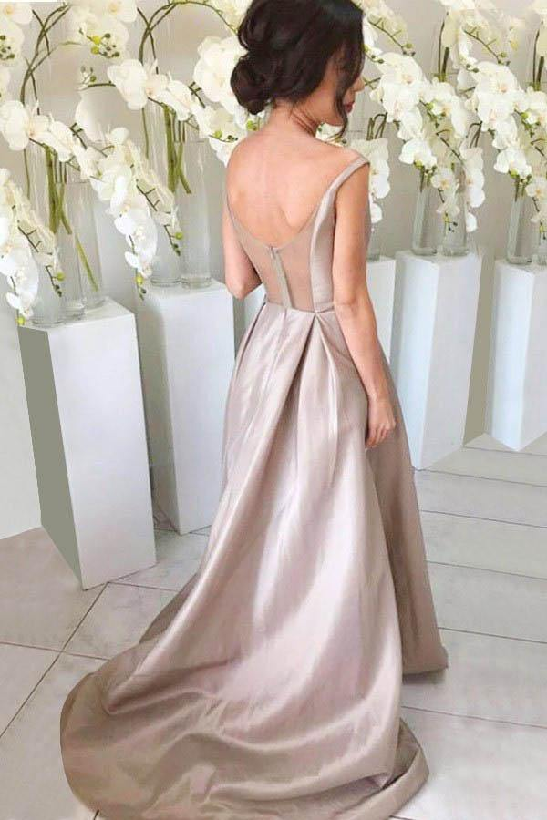 Simple V-neck Sleeveless High Low Sweep Train Silver Bridesmaid Dress-Pgmdress