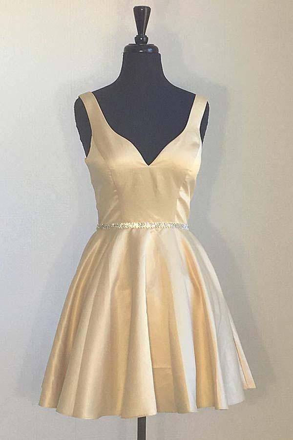 Simple Yellow Homecoming Dresses Broad Strap V Neck Beaded-Pgmdress