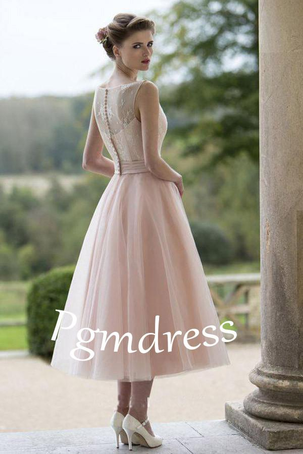 Sleeveless Blush Pretty Flower Length Tulle Fall Wedding Dress WD079