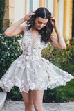 Sleeveless Elegant Short Flowers A-line Homecoming Dress Party Dress-Pgmdress