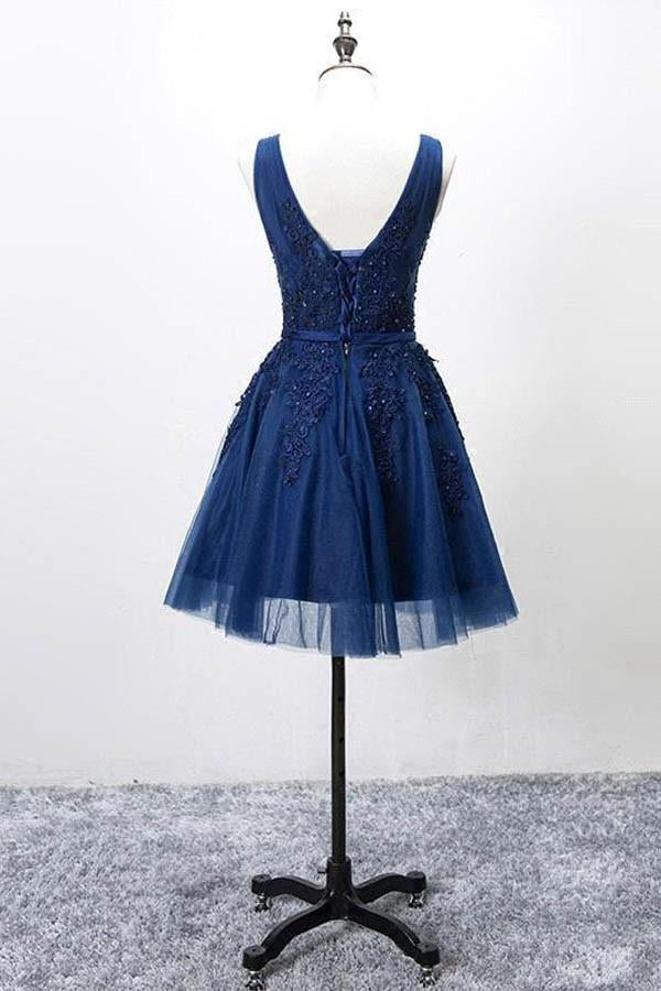 Sleeveless Lace-up Tulle Short homecoming Dress Lace Appliques-Pgmdress