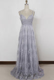 Spaghetti Straps Sweep Train Backless Lavender Tulle Prom Dress-Pgmdress
