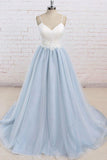 Spaghetti Straps Sweep Train Backless Light Blue Tulle Prom Dress PG498