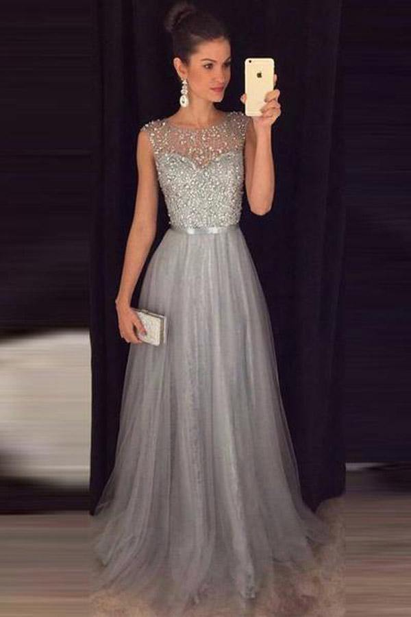 Sparkly A Line Scoop Open Back Grey Beaded Long Prom Dresses-Pgmdress