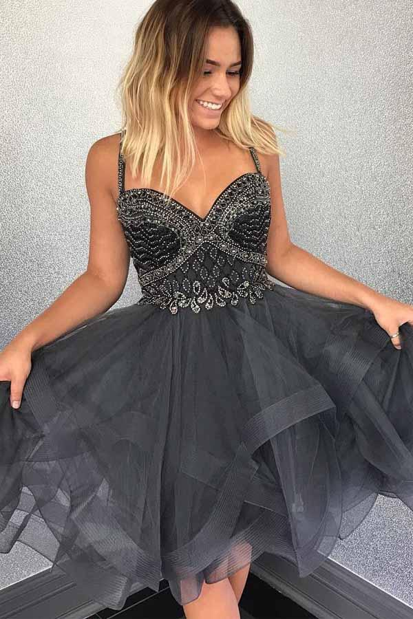 Sparkly Beads Short Grey Tulle Homecoming Dress With Beading-Pgmdress