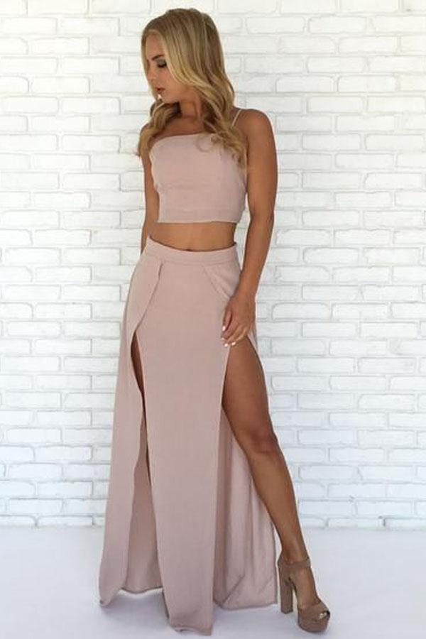 Special Two Piece Straps Pink Long Prom Dress with Slit-Pgmdress