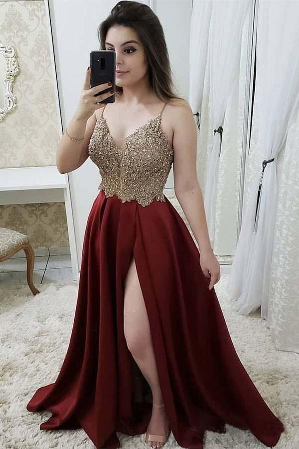 Strap A Line Maroon Long Beaded Prom Dresses with Split and Gold Lace-Pgmdress
