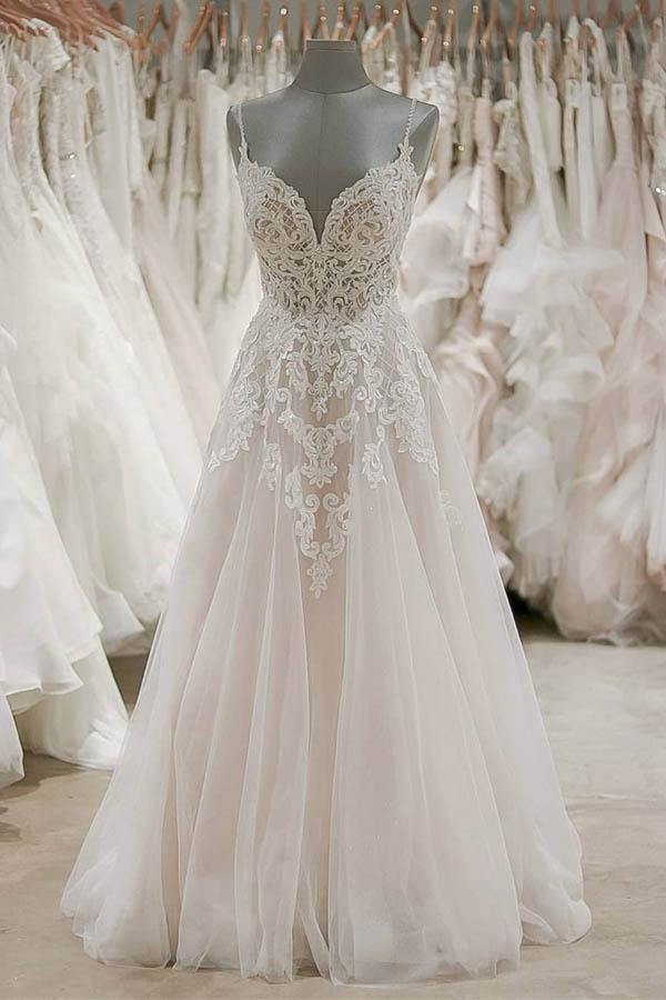 Strap V Neck Beach Wedding Dresses Backless Ivory Tulle Wedding Dress-Pgmdress