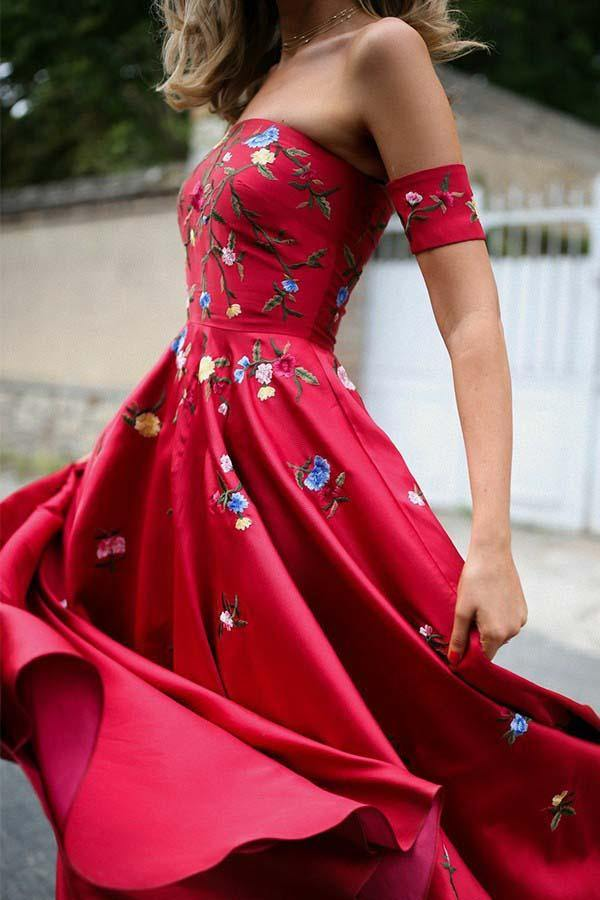Strapless Red Sweep Train Short Sleeves Prom Dress with Appliques-Pgmdress
