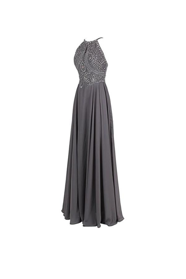 Straps Formal Gowns Beading Prom Evening Dresses Backless PG263