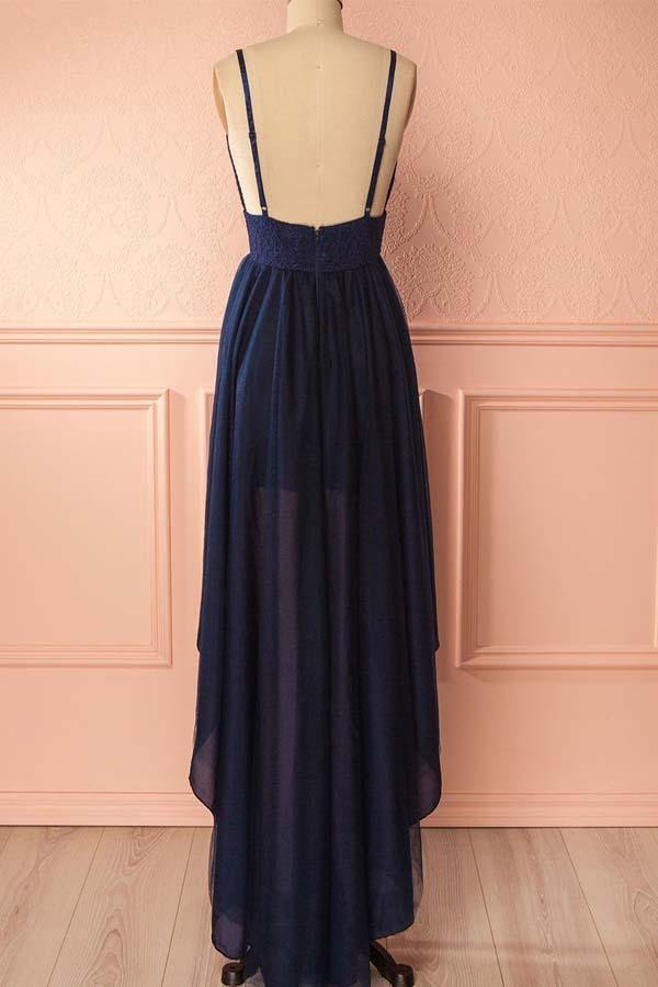 Straps High Low Navy Blue Chiffon Lace Homecoming Dress Party Dress-Pgmdress