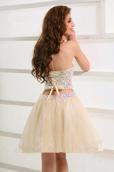 Stunning Two Piece Short Tulle Beaded Sweet Homecoming/Party Dress-Pgmdress
