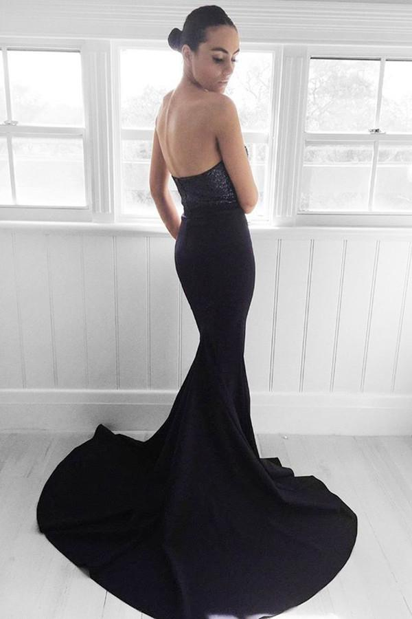 Sweep-Train Sequins  Sweetheart Navy Mermaid Prom Dress-Pgmdress