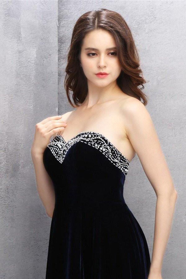 Sweet heart Chiffon Black Homecoming Dress with Beading PG007