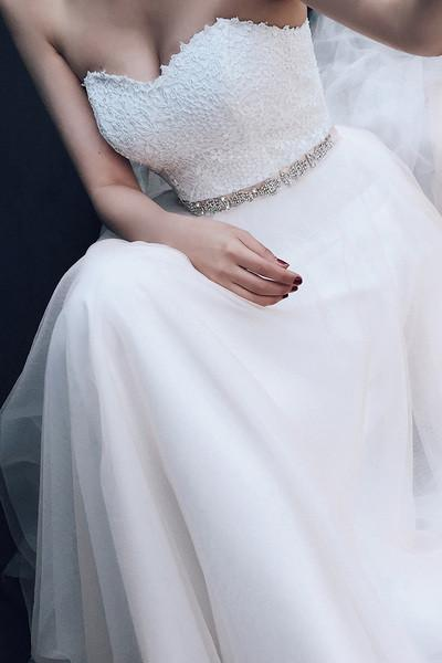 Sweetheart A-line  Lace Tulle Wedding Dresses With Court Train-Pgmdress