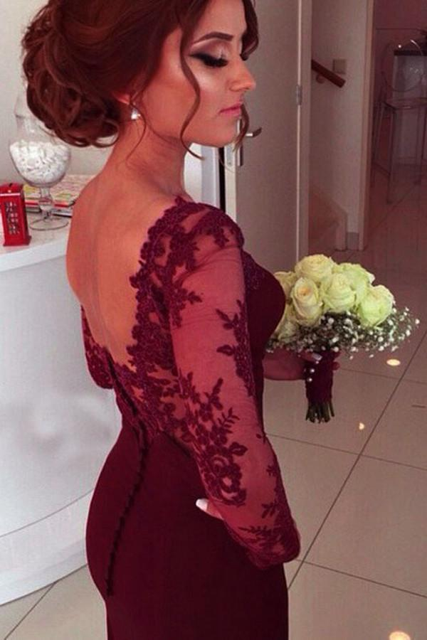 Sweetheart Long Sleeve Satin Prom Dresses With Lace Appliques PG310