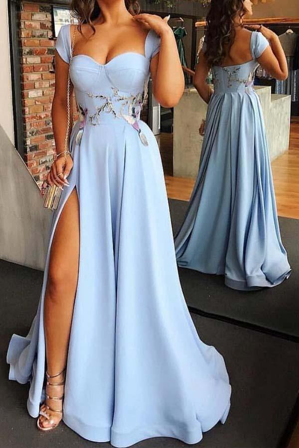 Sweetheart Neck Cap Sleeve Light Blue Floor Length Prom Dress with Split-Pgmdress