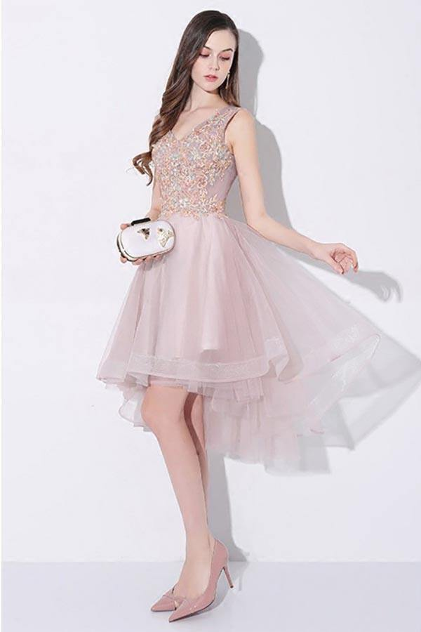 Tulle High Low V-neck Homecoming Prom Dress Sleeveless PD093 - Pgmdress
