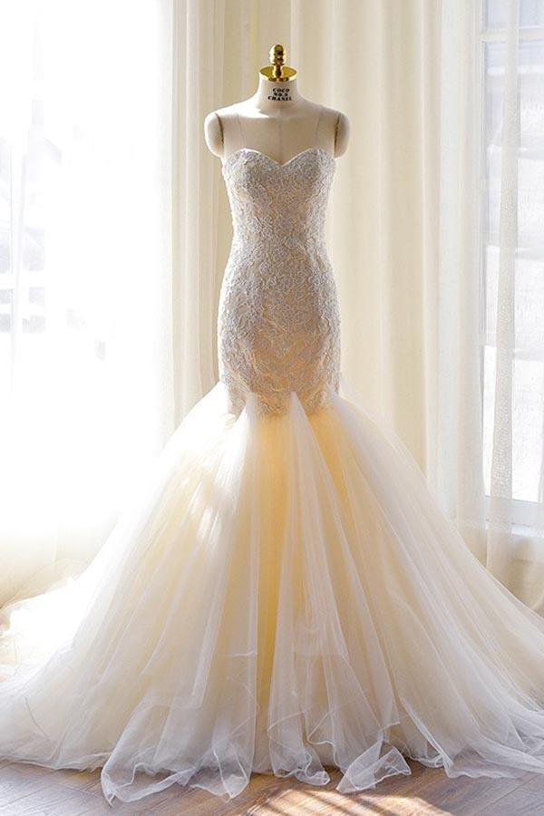 Tulle Mermaid Gorgeous Lace-Appliques Sweetheart Wedding Dress-Pgmdress