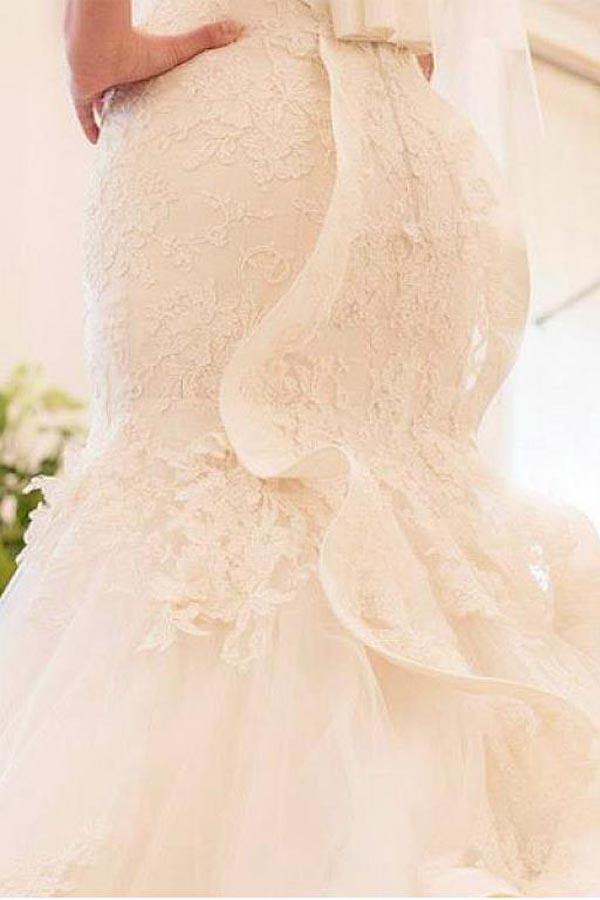 Tulle Mermaid Wedding Dress With Lace Appliques-Pgmdress