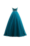 Tulle Sequin Ball Gown Prom Dresses Evening Gown-Pgmdress