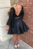 Two Piece Black Long Sleeve Lace Homecoming Dress Two Pieces-Pgmdress