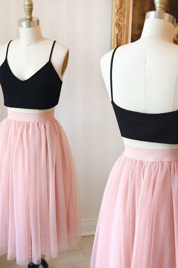 Two Piece Cute Pink Knee Length Tulle Skirt Homecoming Dresses For Teens-Pgmdress