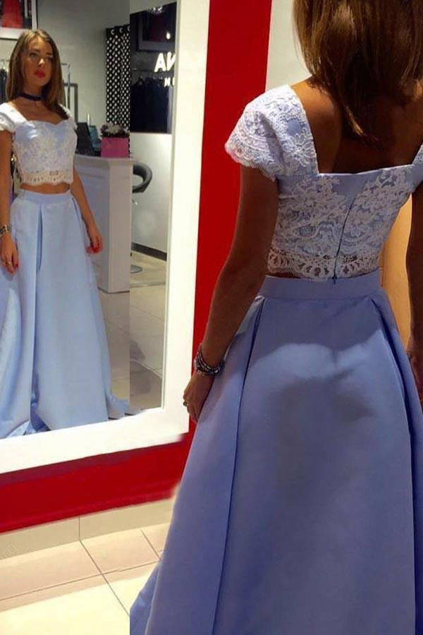 Two Piece Floor-Length Blue Satin Cap Sleeves Prom Dress with Appliques-Pgmdress