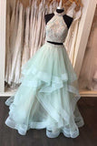 Two Piece High Neck Floor-Length Open Back Mint Organza Prom Dress-Pgmdress