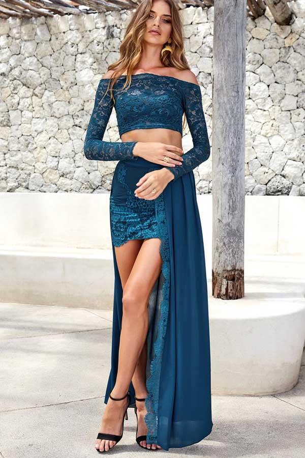 Two Piece Long Sleeves Lace Prom Dress with Slit-Pgmdress