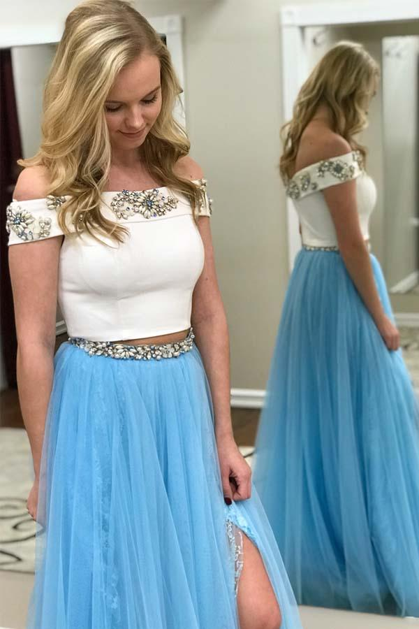Two Piece Off the Shoulder White and Blue Long Prom Dress with Side Slit-Pgmdress