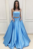 Two Piece Strapless Sweep Train Blue Satin Prom Dresses with Pockets-Pgmdress