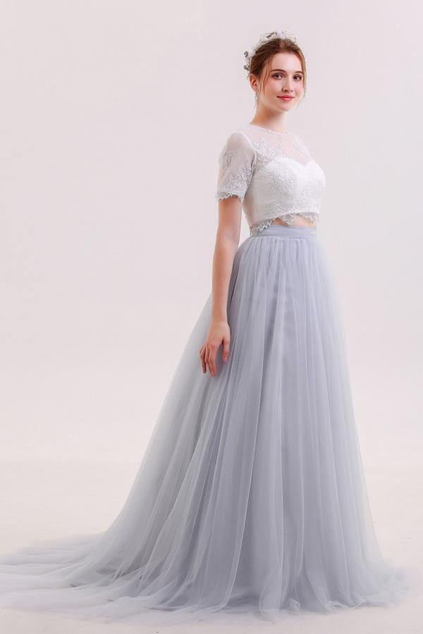 Two Piece V Neck Tulle Grey Prom Dresses Evening Dresses-Pgmdress