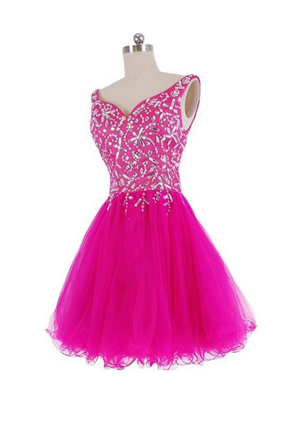 V-Neck Beadings A-Line Short Prom Dress Homecoming Dresses-Pgmdress