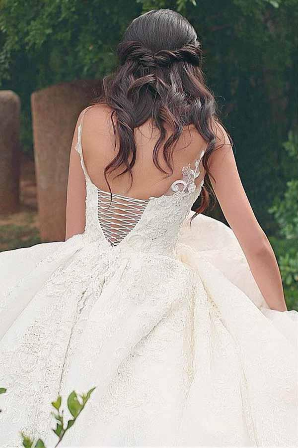 V-neck Neckline Ball Gown Wedding Dresses With Lace Appliques-Pgmdress