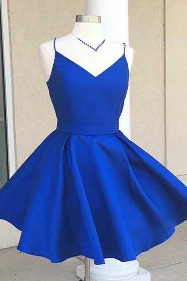 V-Neck Open Back Royal Blue Satin Homecoming Dress with Bowknot-pgmdress