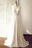 V-neck  Sleeveless Open Back Wedding Dress with Lace Sash PG200