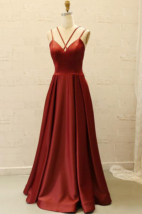 V Neck Spaghetti Straps Burgundy Satin Split Long Prom Dress with Pockets-Pgmdress