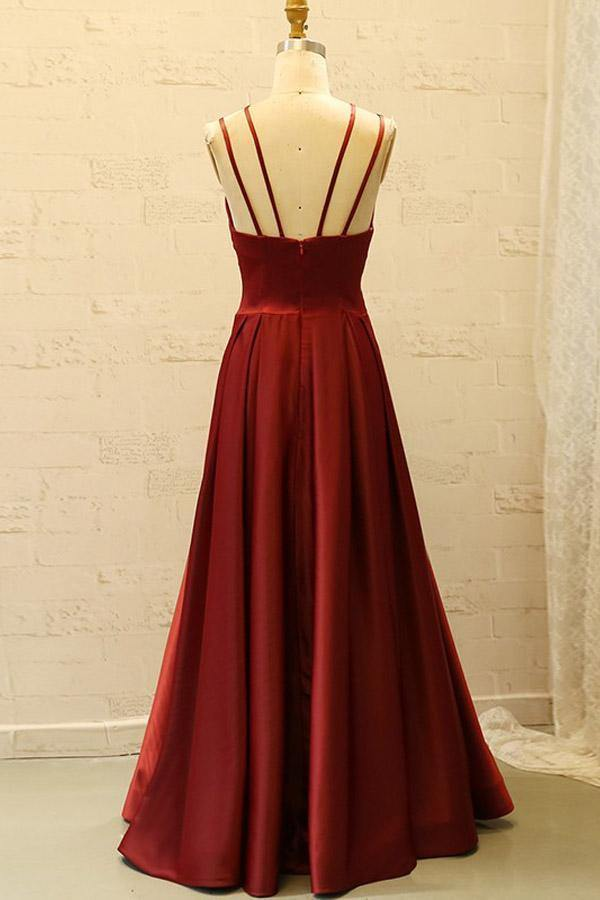 V Neck Spaghetti Straps Burgundy Satin Split Long Prom Dress with Pockets