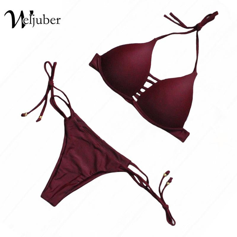 Weljuber New Swimwear Women Bandage Bikini 2017 New Sexy Brazilian Biquini Bathing Suit Push Up Swimsuit Beach Biquini