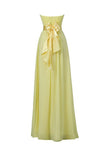 Yellow Sweetheart Bridesmaid Chiffon Prom Dress Long Evening Gowns-Pgmdress
