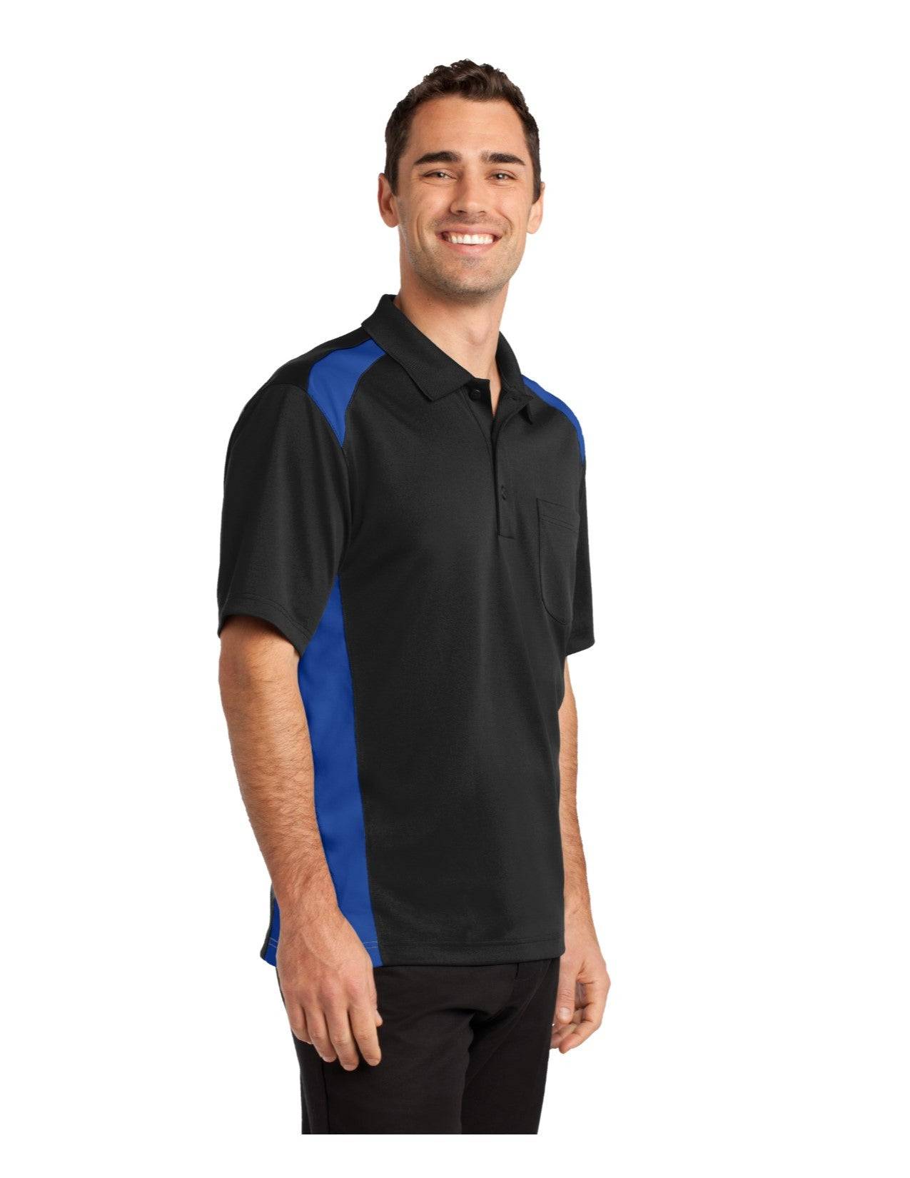93cd39c3 CornerStone® Select Snag-Proof Two Way Colorblock Pocket Polo. CS416 ...