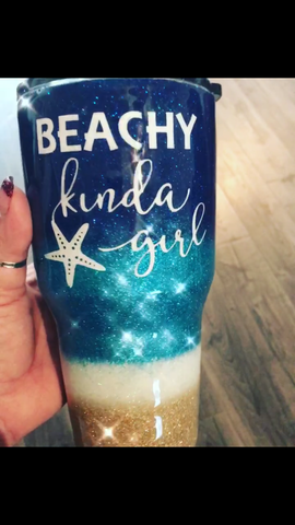 Custom Beach Glitter dipped Tumbler